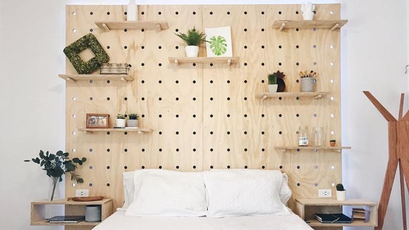 Перфорированое двп в интерьере спальни 2