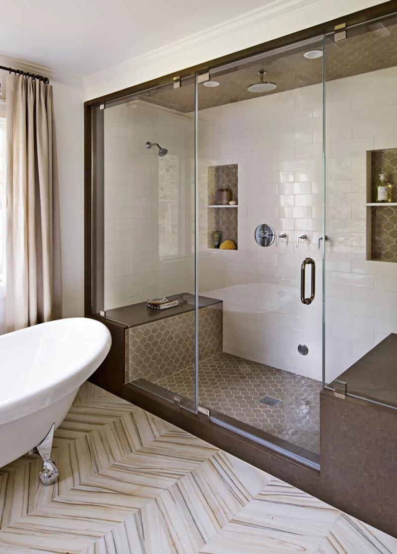 Душевая кабина в интерьере ванной 5