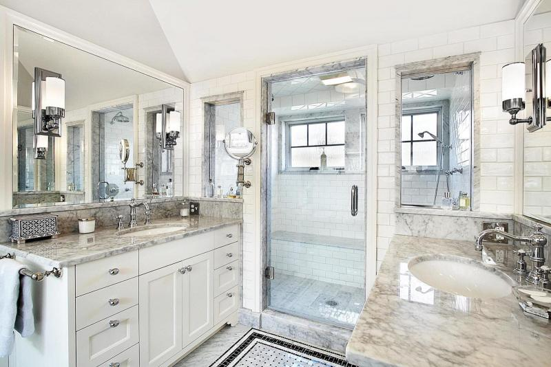 Кварцевая столешница в интерьере ванной комнатнаты 2