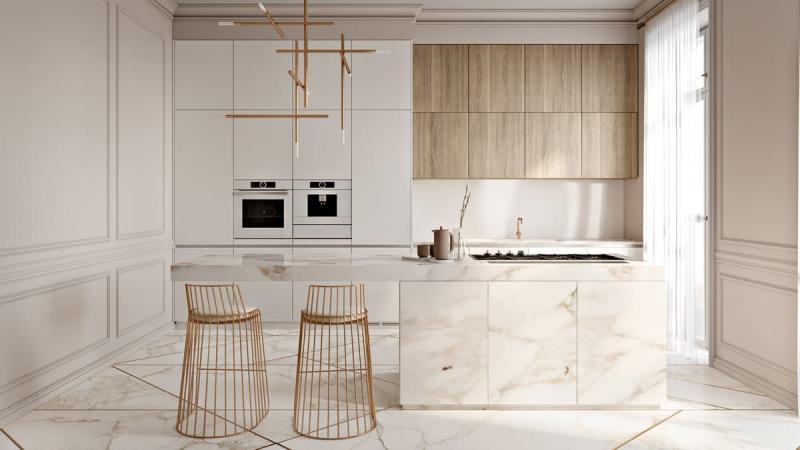 Стиль минимализм в интерьер кухни 5