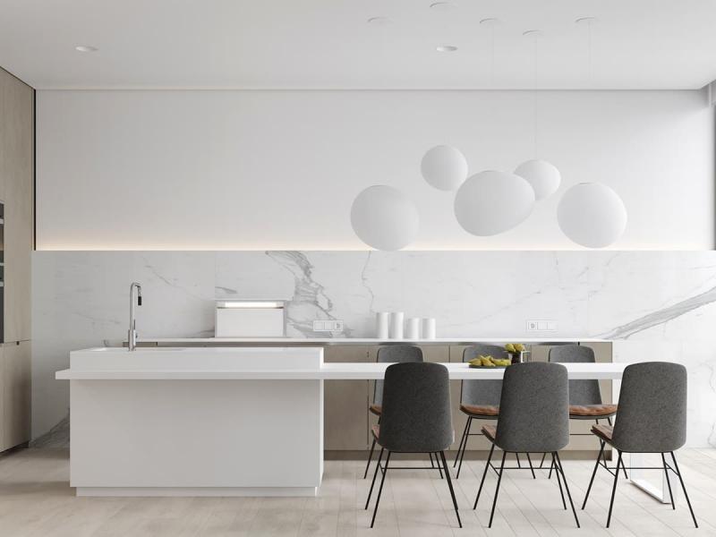Стиль минимализм в интерьер кухни 7