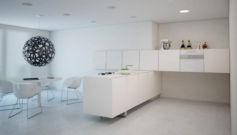 Стиль минимализм в интерьер кухни 9