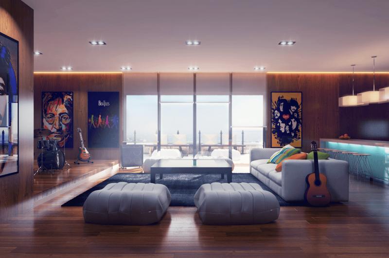 Стильный интерьер гостиной 4