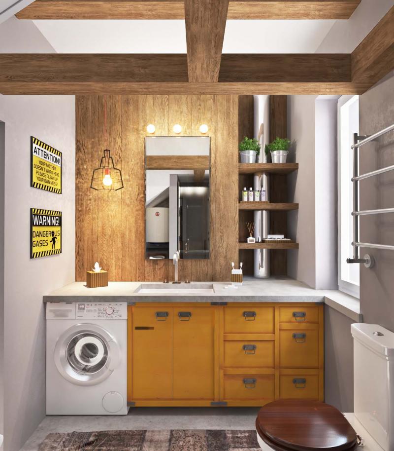 Стиральная машина в интерьере ванной под столиком 3
