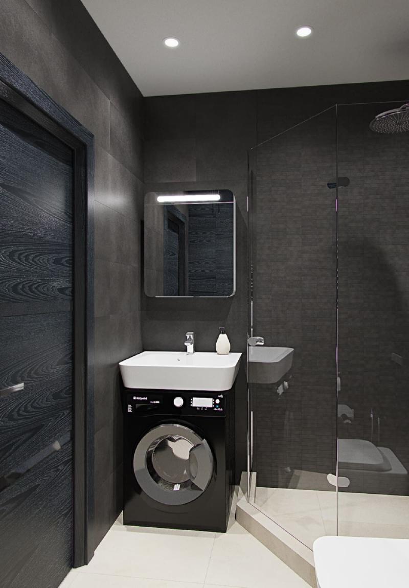 Стиральная машина в интерьере ванной под умывальником 1