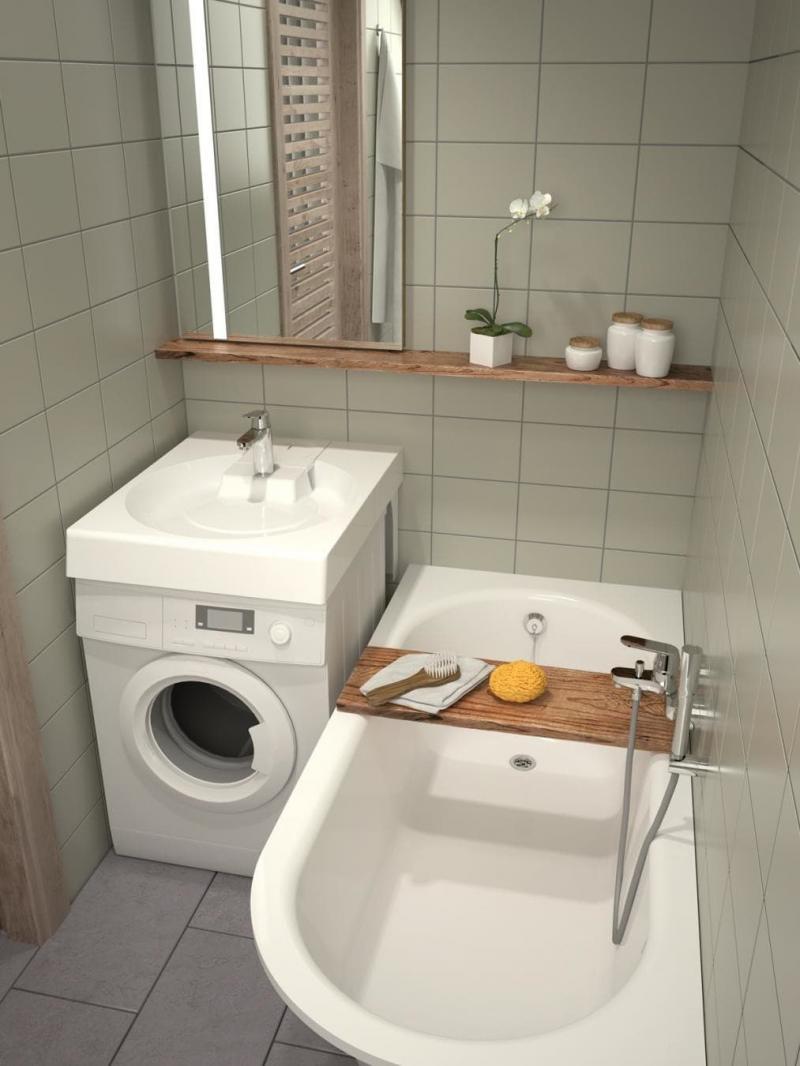 Стиральная машина в интерьере ванной под умывальником 2