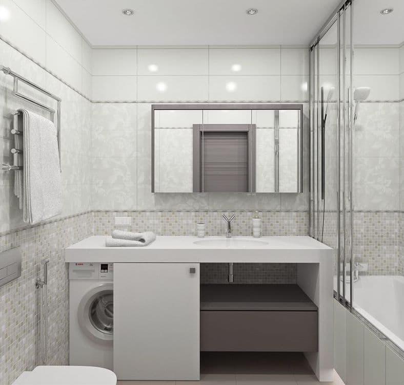 Стиральная машина в интерьере ванной за дверцей 1