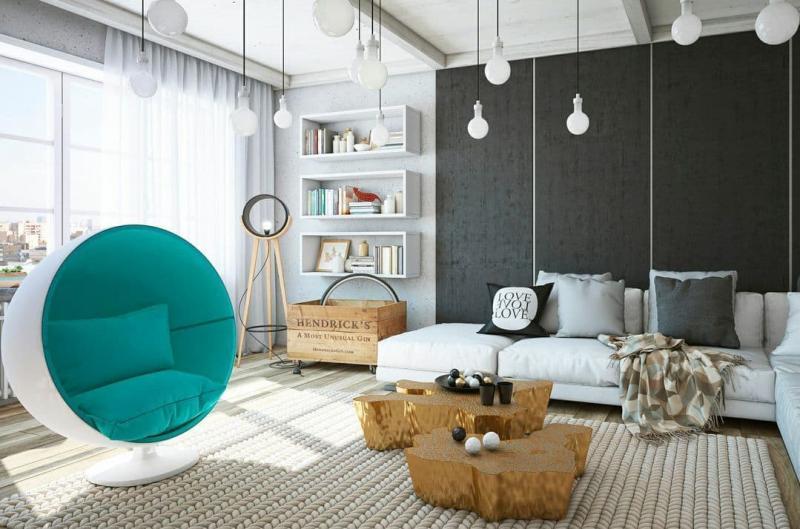 Кресло-шар в интерьере 1