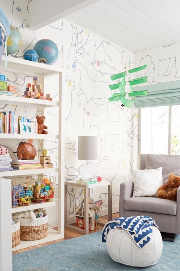 Трафаретные рисунки на стенах в комнате мальчика 1