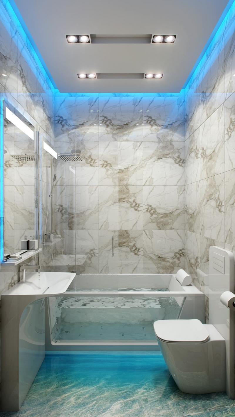 Гипсокартонный потолок в ванной комнате 1
