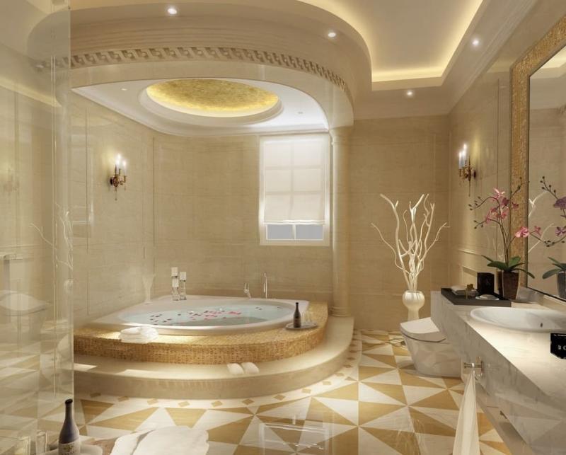 Натяжной потолок в ванной комнате 1