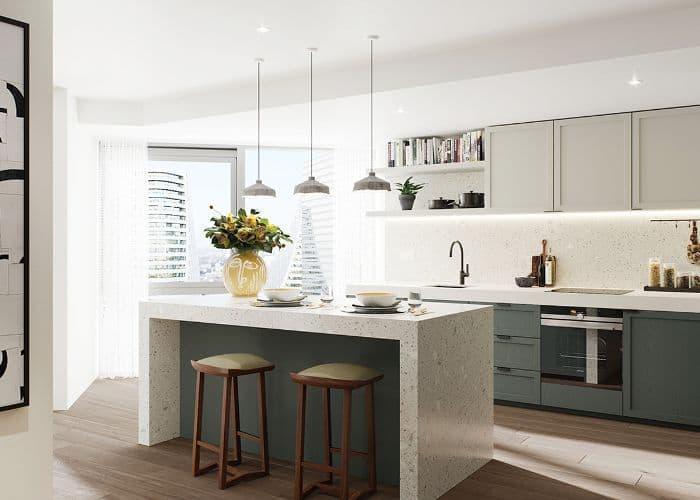 Кухонный гарнитур для куни 2019 двухцветный 3
