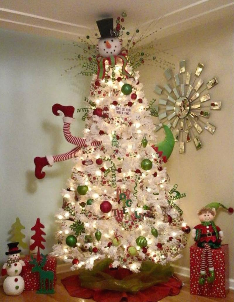 Новогодняя ёлка-снеговик 1