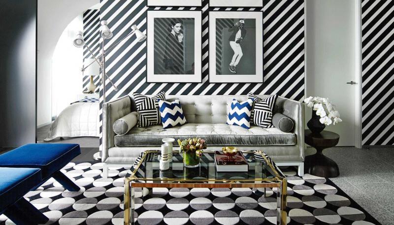 Геометрический принт в интерьере гостиной 1