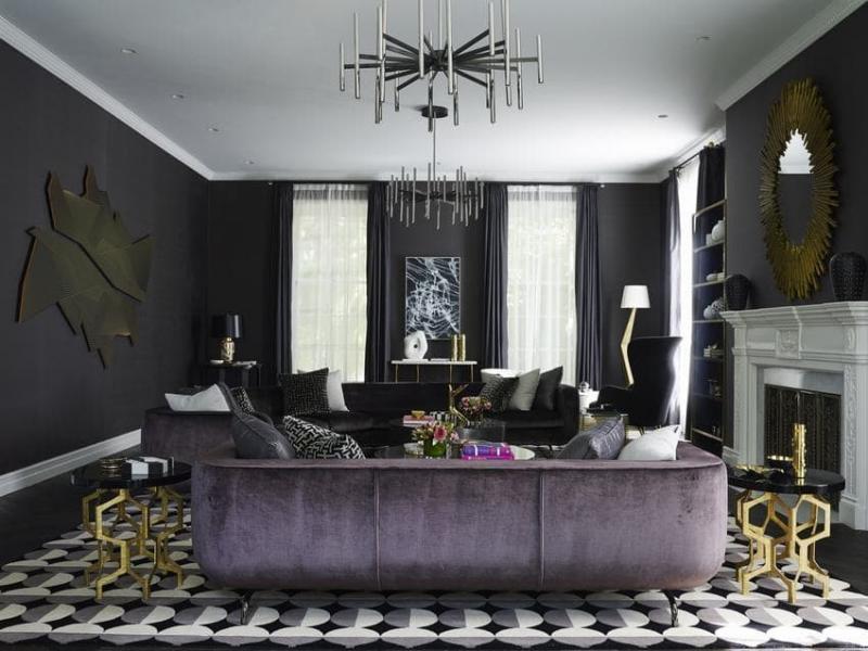 Геометрический принт в интерьере гостиной 4
