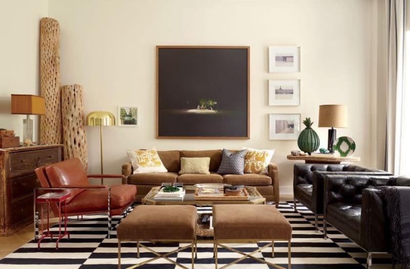 Геометрический принт в интерьере гостиной 5