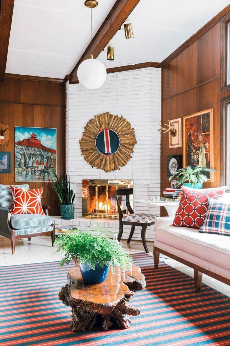 Многослойный дизайн интерьера гостиной 2