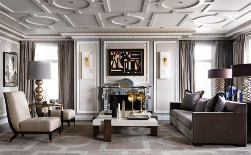 Яркий потолок в гостиной 2019 5