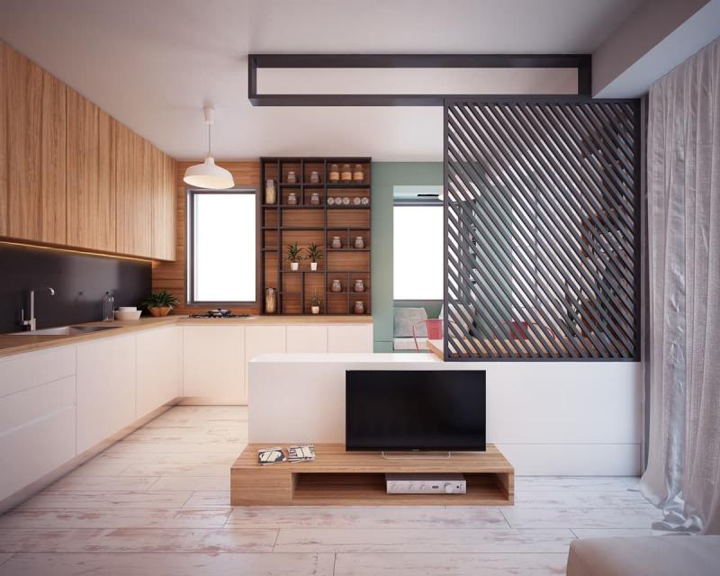 Кухня-студия 12 кв.м 3