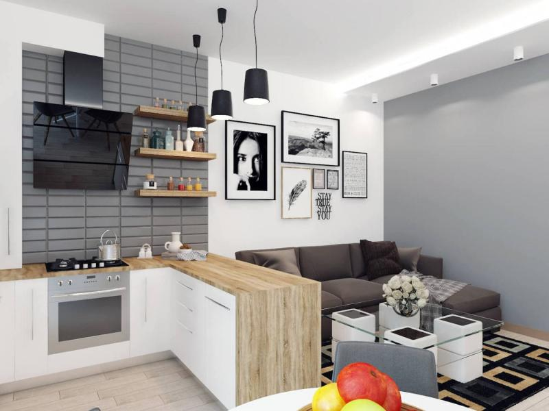 Кухня-студия 12 кв.м 4