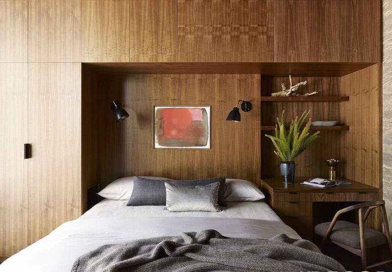 Интерьер спальни 2019 цвет коричневый темный