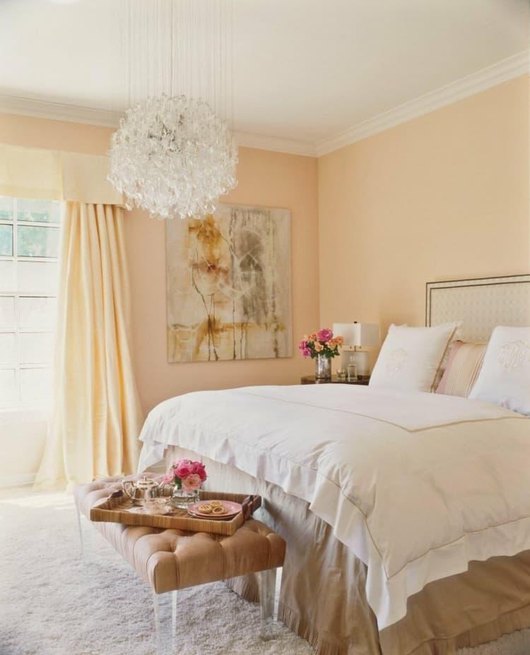 Интерьер спальни 2019 цвет оранжевый абрикосовый