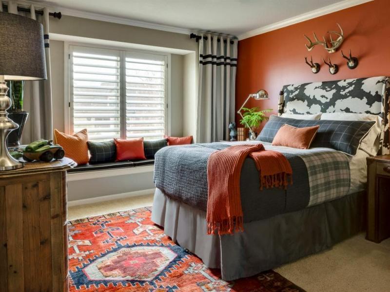 Интерьер спальни 2019 цвет оранжевый глиняный