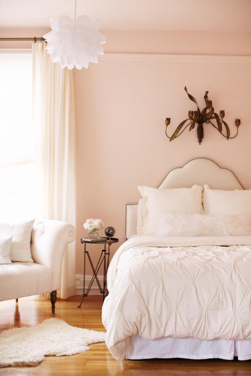 Интерьер спальни 2019 цвет розовый пудровый