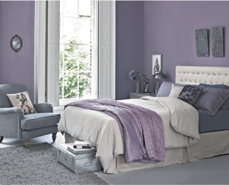 Интерьер спальни 2019 цвет серая сирень