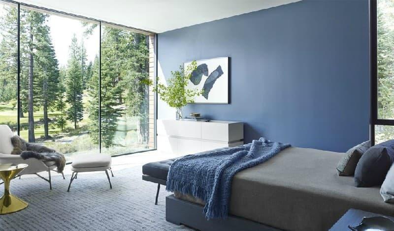 Интерьер спальни 2019 цвет синий освежающий