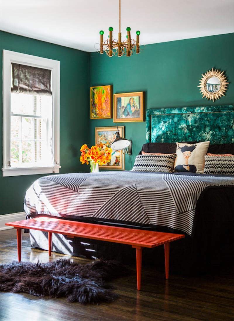 Интерьер спальни 2019 цвет зеленый лесной