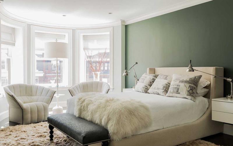 Интерьер спальни 2019 цвет зеленый с серым
