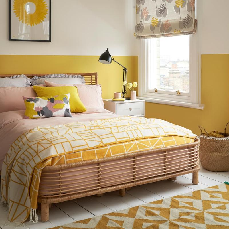 Интерьер спальни 2019 цвет желтый горчичный