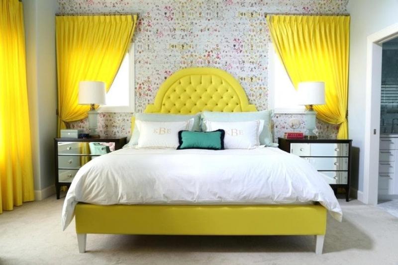Интерьер спальни 2019 цвет желтый лимонный