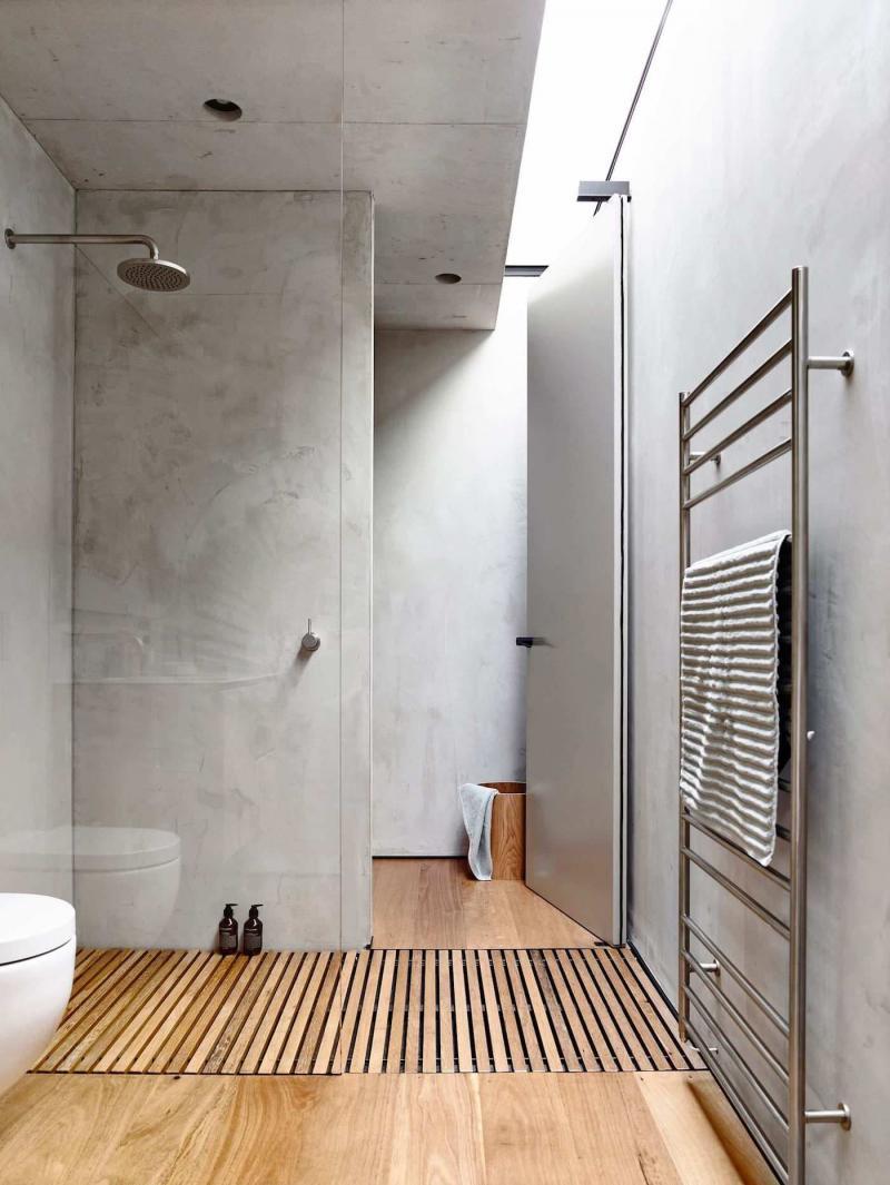Оформление стен в ванной 2019 бетон 1