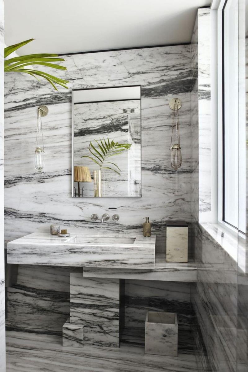 Оформление стен в ванной 2019 серый мрамор 1