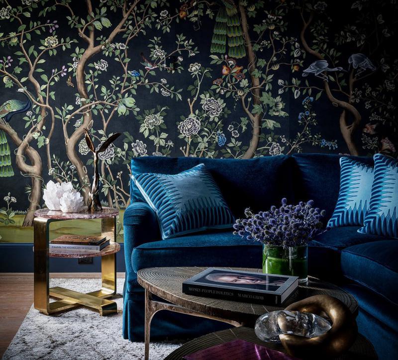 Оформление стен в квартире 2019 обои с цветами 4