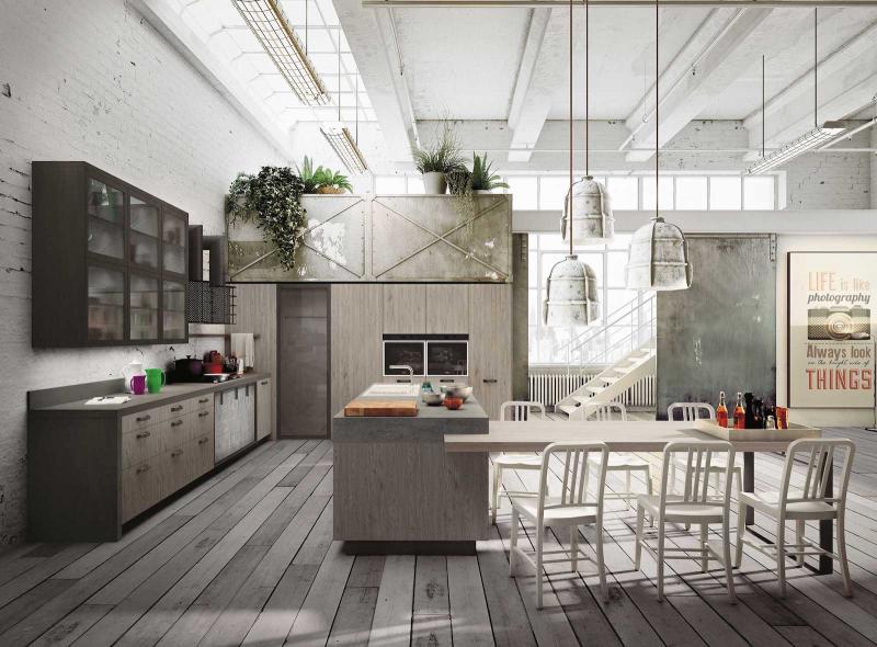 Кухня в стиле лофт цветовые решения 3
