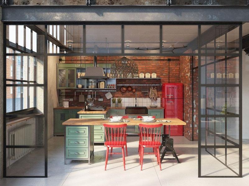 Кухня в стиле лофт цветовые решения 5