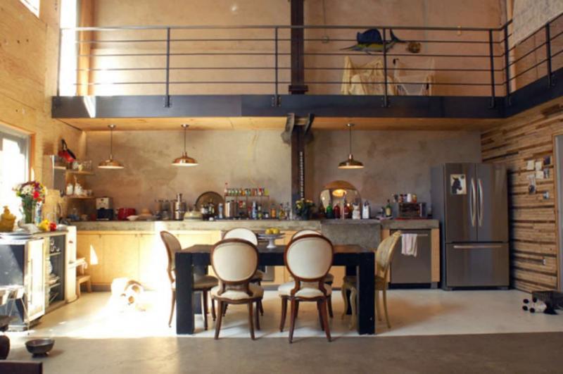 Обеденный стол на кухне в стиле лофт 1