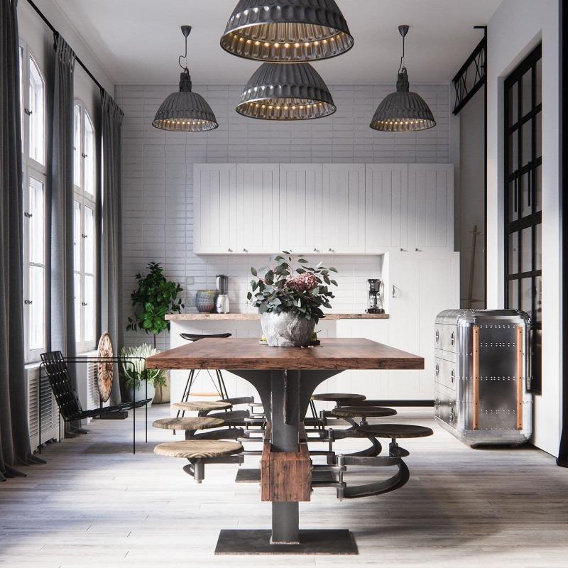 Обеденный стол на кухне в стиле лофт 2