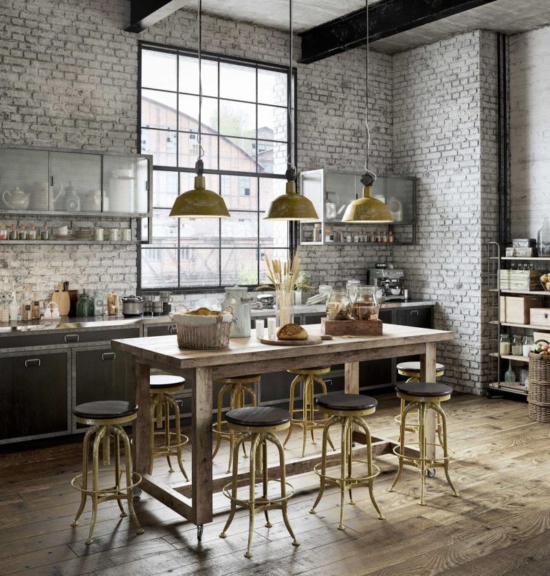 Обеденный стол на кухне в стиле лофт 3