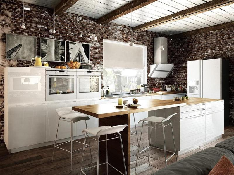 Оформление стен на кухне в стиле лофт 1