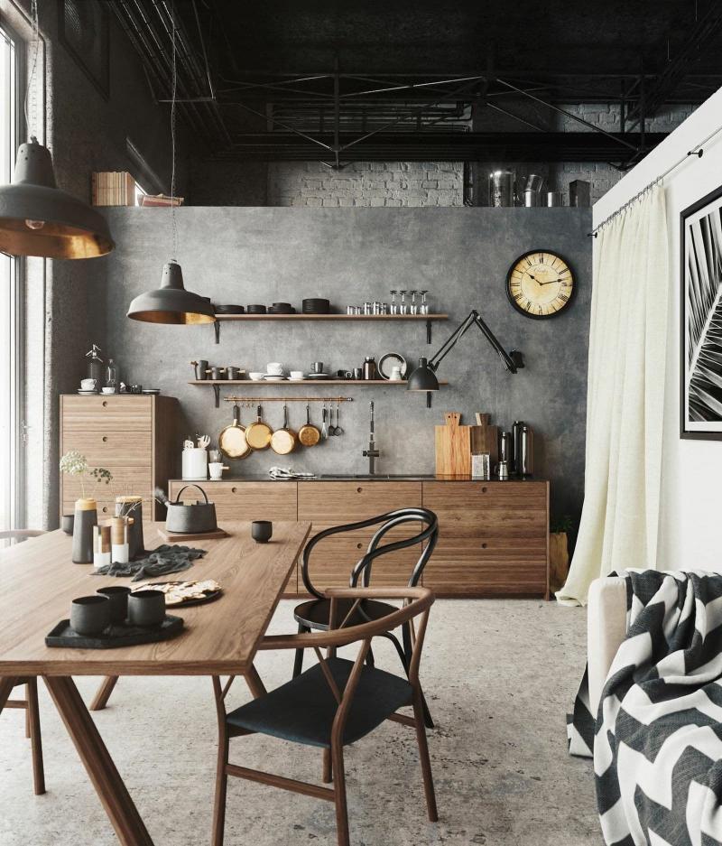 Оформление стен на кухне в стиле лофт 3