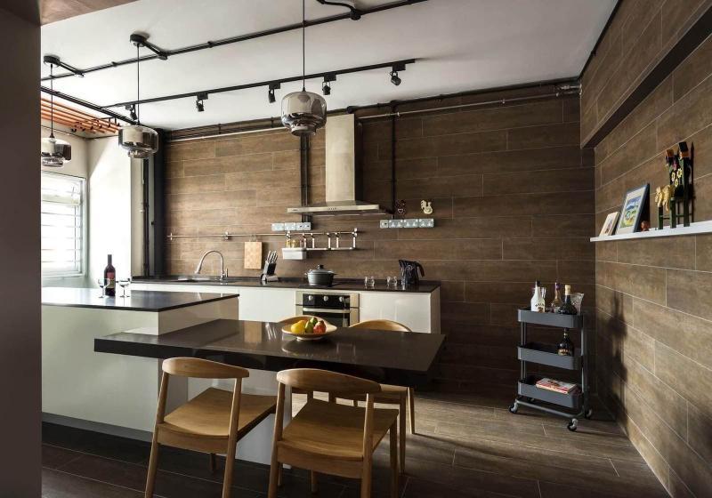 Оформление стен на кухне в стиле лофт 4
