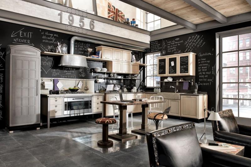 Оформление стен на кухне в стиле лофт 6
