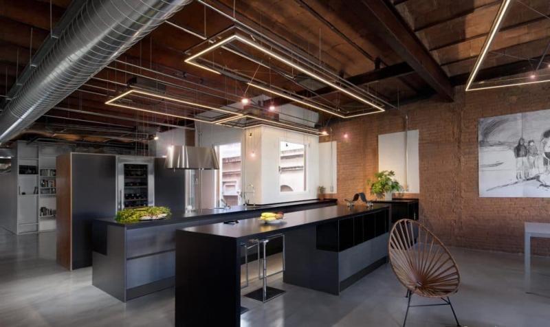 Освещение на кухне в стиле лофт 4