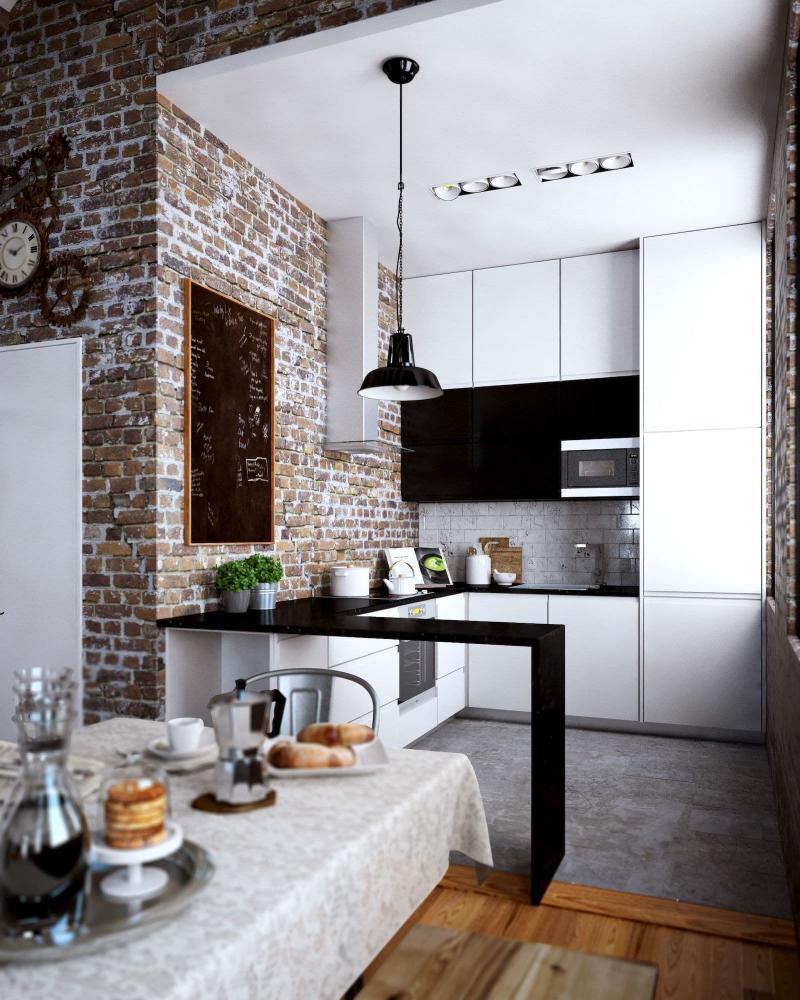 Планировка кухни в стиле лофт 5
