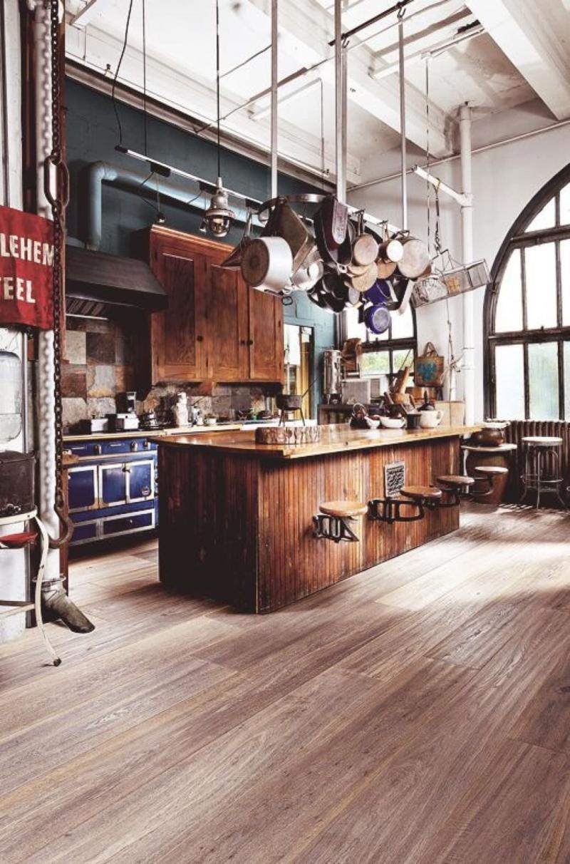 Пол на кухне в стиле лофт 1