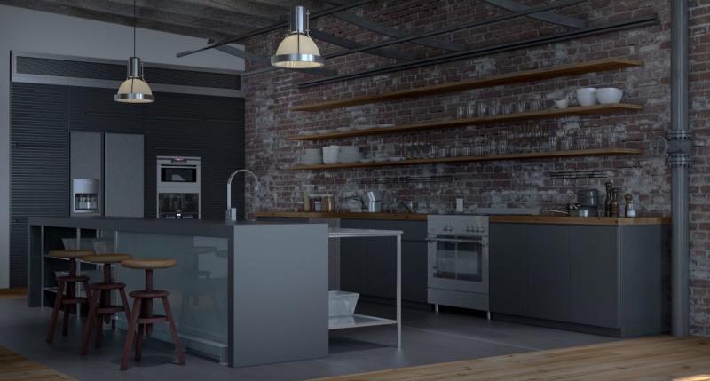Пол на кухне в стиле лофт 2